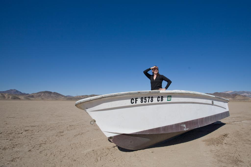 Penelope in Boat on Dry Lake