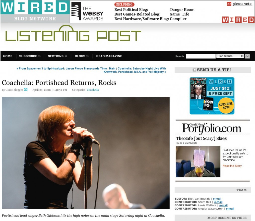 Wired.com Coachella: Portishead