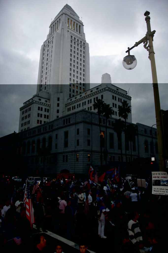City Hall and protesters