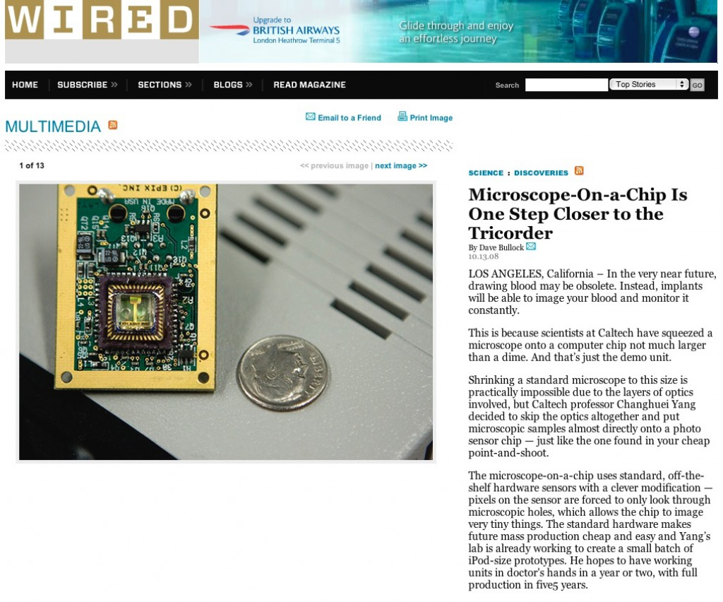 Wired Microscope-on-a-Chip