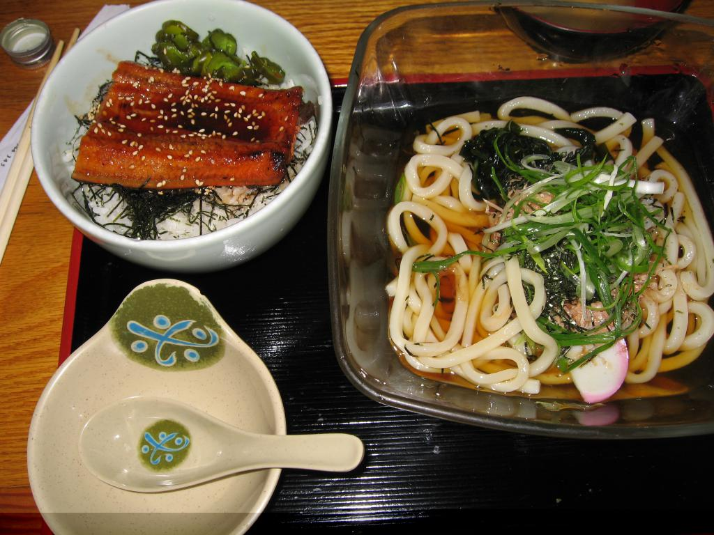 unagi and cold soba